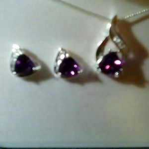 Amethyst and sterling necklace & earring set